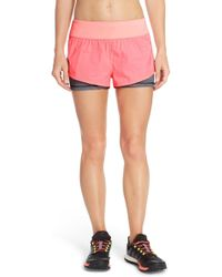 Zella - 'euphoria' Layered Running Shorts - Lyst