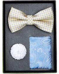 Bristol & Bull - Yellow & Blue Bow Tie Silk Set - Lyst