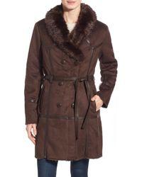 Steve Madden - Belted Faux Fur Coat - Lyst