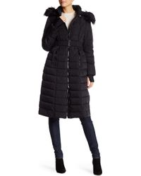 Bebe - Faux Down Belted Maxi Puffer With Faux Fur Trim - Lyst