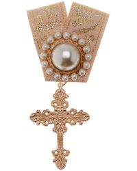 Cara - Synthetic Pearl And Cross Embellished Ribbon Pin - Lyst