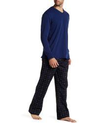 Lacoste Long Sleeve Shirt & Print Pant Set - Blue