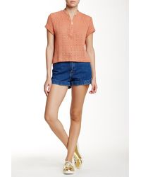 American Apparel - Denim High-waist Cuff Short - Lyst