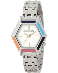 Steve Madden - Women's Hexagon Stainless Steel Bracelet Watch - Lyst