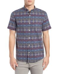 Oxford Lads - Trim Fit 'vintage Geo' Print Short Sleeve Woven Shirt - Lyst