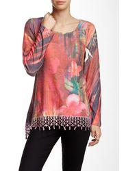 Sienna Rose - Fringe Hem Long Sleeve Sweater - Lyst