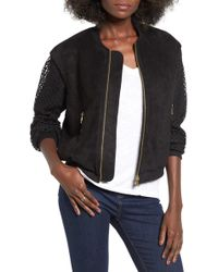 4si3nna - Faux Suede & Mesh Bomber Jacket - Lyst