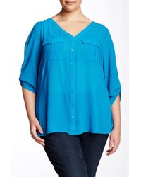 Sienna Rose - Sheer Two Pocket Blouse (plus Size) - Lyst