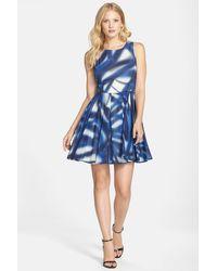 Kaya & Sloane - Print Voile Fit & Flare Dress - Lyst