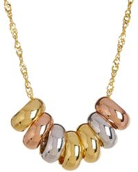 "Royal Chain Group | 10k Tricolor Gold Lucky 7-ring 18"" Necklace 