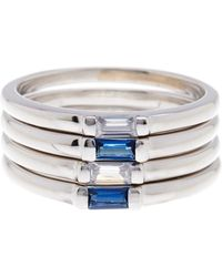 Savvy Cie Jewels - Sterling Silver Baguette Stone Stacking Rings - Set Of 4 - Size 10 - Lyst