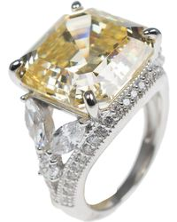 CZ by Kenneth Jay Lane - Asscher Cut & Marquise Cz & Pave Halo Split Shank Ring - Lyst