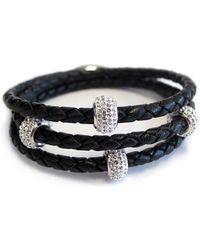 Liza Schwartz - Sterling Silver Crystal Bedazzle Triple Wrap Black Leather Bracelet - Lyst