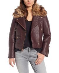 Marc New York - Andrew Marc Beverly Faux Leather Jacket With Faux Fur Trim - Lyst