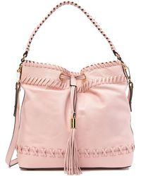 MILLY - Astor Whipstitched Leather Shoulder Bag - Lyst