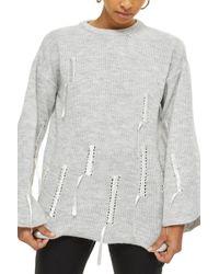 TOPSHOP - Ribbon Detail Sweater - Lyst