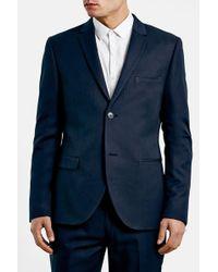 TOPMAN - Navy Skinny Fit Suit Jacket - Lyst