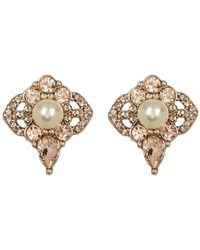 Jenny Packham - Crystal & Imitation Pearl Cluster Stud Earrings - Lyst