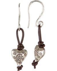 Peyote Bird - Sterling Silver & Leather Heart Drop Earrings - Lyst