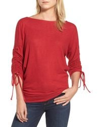 Gibson - Tie Sleeve Cosy Fleece Top - Lyst