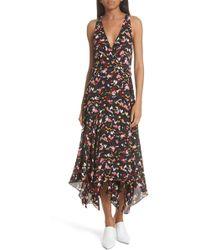 A.L.C. - Roslyn Print Handkerchief Hem Silk Wrap Dress - Lyst
