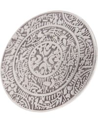 TMRW STUDIO - Antique Silver Plated Pewter Embossed Circle Plate Adjustable Ring - Lyst