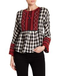 Haute Rogue - Embroidered Gingham Top - Lyst
