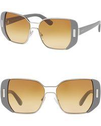 37fd528a0231 Lyst - Prada Women s Polarized Aviator Metal Frame Sunglasses