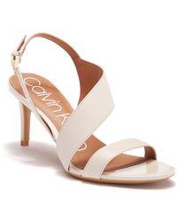 Calvin Klein - Lancy Leather Strappy Sandals - Lyst