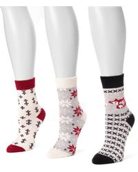 Muk Luks - Holiday Boot Socks - Pack Of 3 - Lyst