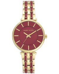 Anne Klein - Women's Red & Gold Bracelet Watch - Lyst