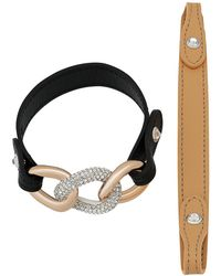 Swarovski - Bound Calfskin Leather Strap Chain Crystal Bracelet - Lyst