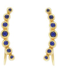 Bony Levy 18k Yellow Gold Bezel Set Blue Sapphire Ear Crawlers
