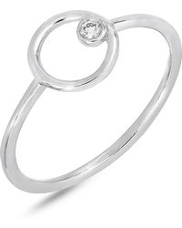 Bony Levy - 18k White Gold Diamond Solitaire Open Circle Ring - 0.03 Ctw - Lyst