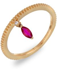 Bony Levy - 18k Rose Gold Marquise Ruby Indented Stackable Ring - Lyst