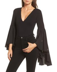 Lost Ink - Embellished Flare Sleeve Bodysuit - Lyst