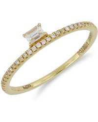 Bony Levy - 18k Rose Gold Radiant & Round Diamonddetail Stackable Ring - Lyst