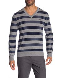Brooks Brothers - Stripe V-neck Sweater - Lyst