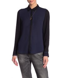 Scotch & Soda - Colorblock Button Front Shirt With Necklace - Lyst