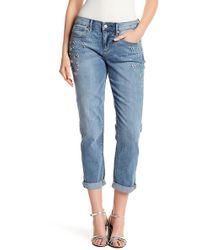 Nicole Miller - Boyfriend Roll Cuff Embellished Jeans - Lyst