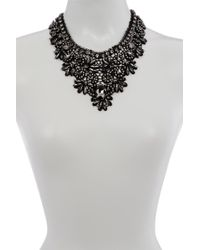 ABS By Allen Schwartz - Stone Embellished Lace Bib Necklace - Lyst
