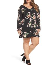 Glamorous - Bell Sleeve Floral Shift Dress (plus Size) - Lyst