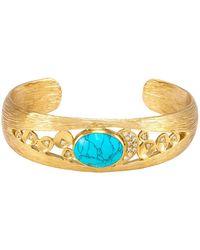 Melinda Maria - Madison Bezel Set Turquoise Pave Cuff Bracelet - Lyst