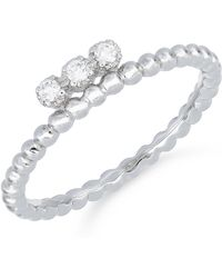 Bony Levy - 18k White Gold Beaded Three Stone Stackable Ring - 0.08 Ctw - Lyst