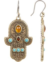 Lucky Brand - Stone Accent Hamsa Drop Earrings - Lyst
