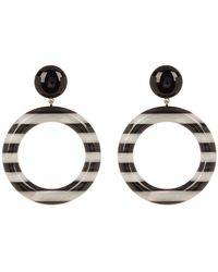 Marc Jacobs - Large Striped Front Facing Hoop Earrings - Lyst
