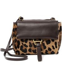 Aquatalia - Mini Leopard Printed & Genuine Calf Hair Trimmed Crossbody Bag - Lyst