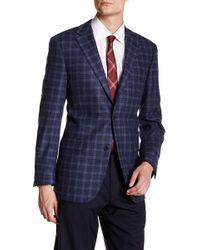 Ike Behar - Blue & Grey Plaid Double Button Notched Lapel Jacket - Lyst