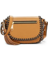 MILLY - Astor Leather Whipstitch Small Saddle Crossbody - Lyst