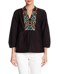 Velvet By Graham & Spencer - Embroidered Silk-cotton Top - Lyst